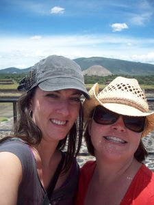 Megs and I at Teotihuacan. My knowledgeable (and cheap!) tour guide told me that the pyramid behind us was more than a mile away.
